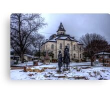 Snow Day on the Courthouse Square Canvas Print