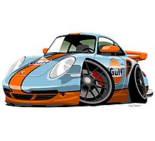 Porsche 911 (997) turbo caricature Gulf Photographic Print