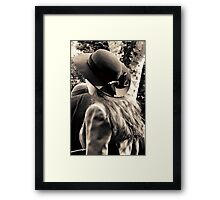 Lady with hat 1940s style Framed Print