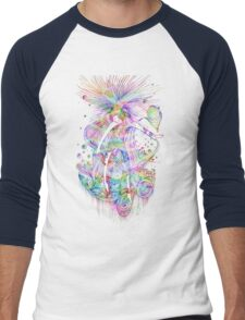 Cosmic Crayola - psychedelic stars, and tiny dancers. Men's Baseball ¾ T-Shirt