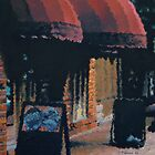 Cityscape Painting - Red Awnings - 11 x 14 Oil by Daniel Fishback