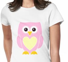 Pink Owl with Yellow Heart Womens Fitted T-Shirt