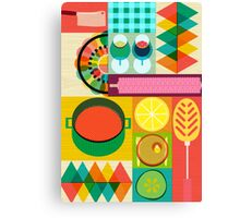 Wondercook Food Kitchen Pattern Canvas Print