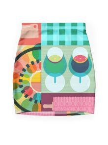 Wondercook Food Kitchen Pattern Mini Skirt