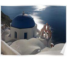 Blue Domed Church in Oia, Santorini Greece Poster