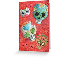 Colourful Sugar Skulls Greeting Card