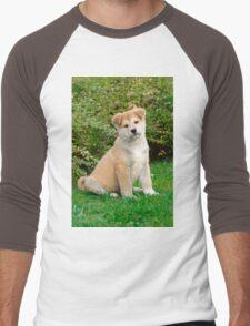 Akita puppy Men's Baseball ¾ T-Shirt