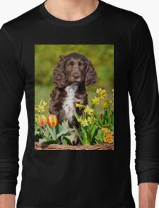 Spaniel puppy amidst spring flowers Long Sleeve T-Shirt