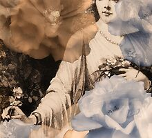 Ghosted/Echoed Roses and Woman Gathering Flowers by Ivana Redwine