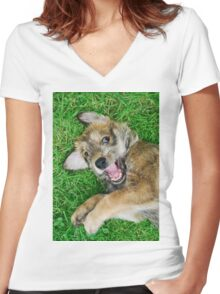 - Giggle - Berger Picard puppy Women's Fitted V-Neck T-Shirt