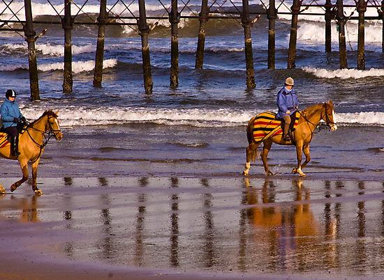 Ride Along The Beach - Saltburn by Trevor Kersley