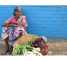 Woman selling Vegetables, Goa, India Photographic Print