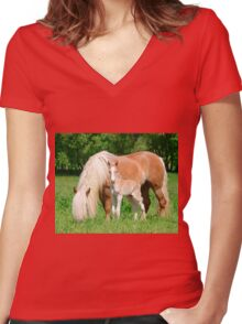 Haflinger, mom and foal Women's Fitted V-Neck T-Shirt