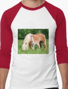 Haflinger, mom and foal Men's Baseball ¾ T-Shirt
