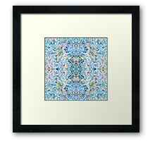 """60. Psychedelic Symmetrical Abstraction """"Fantazy of Gaia"""" in rose, purple, cyan, blue, white and yellow for iPhone, Samsung, pillows, tote bags and mugs Framed Print"""