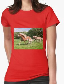 Running together, Haflinger with foals Womens Fitted T-Shirt
