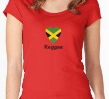 I Love Reggae Music - Jamaica Flag Sticker & Tee Women's Fitted Scoop T-Shirt