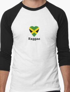 I Love Reggae Music - Jamaica Flag Sticker & Tee Men's Baseball ¾ T-Shirt