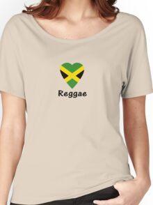 I Love Reggae Music - Jamaica Flag Sticker & Tee Women's Relaxed Fit T-Shirt