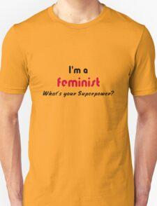 Feminist Superpower slogan black pink T-Shirt