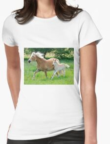 Haflinger mare with foal running  Womens Fitted T-Shirt