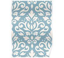Scroll Damask Large Pattern Cream on Blue Poster
