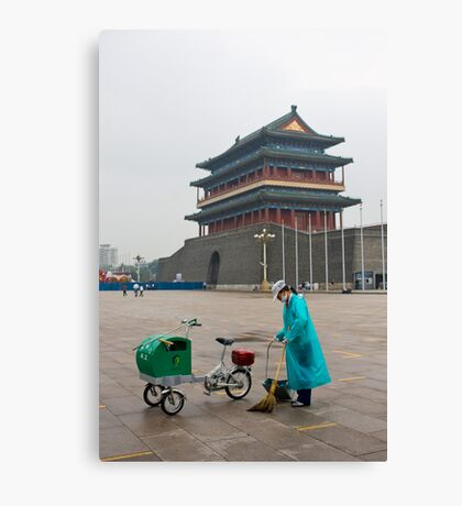 Keeping Tiananmen Square Clean Canvas Print