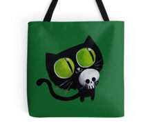 Black Halloween Cat with Skull Tote Bag