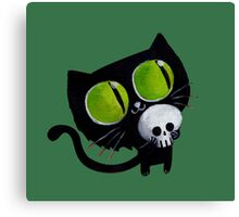 Black Halloween Cat with Skull Canvas Print