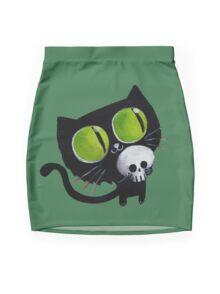 Black Halloween Cat with Skull Mini Skirt