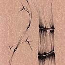 'dance'  brush pen bamboo drawing by Rebecca Rees