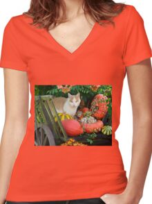 Cat and pumkins Women's Fitted V-Neck T-Shirt