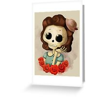 Pretty Skeleton Pin Up Girl Greeting Card