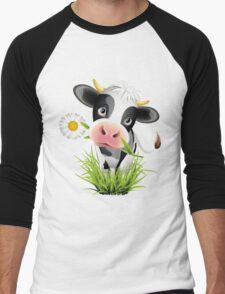 Cute cow with pretty eyes Men's Baseball ¾ T-Shirt