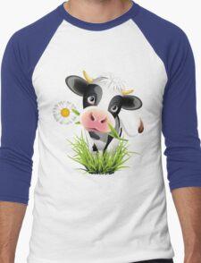Cute cow with pretty eyes Men's Baseball ¾ T-Shirt