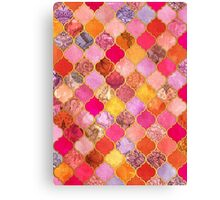Hot Pink, Gold, Tangerine & Taupe Decorative Moroccan Tile Pattern Canvas Print