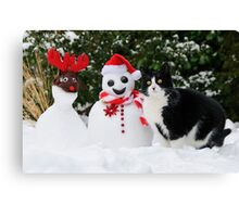 Cat by the side of Santa snowman Canvas Print