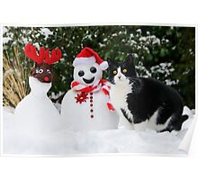 Cat by the side of Santa snowman Poster