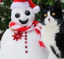 Cat by the side of Santa snowman Sticker