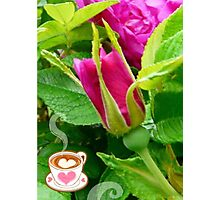 Valentine Rose Bud and a Cup of Hot Chocolate Photographic Print