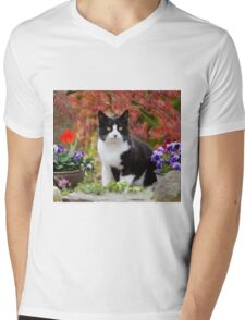 Tuxedo cat in front of a Japanese Maple Mens V-Neck T-Shirt