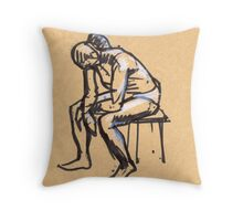 sitting woman2 Throw Pillow