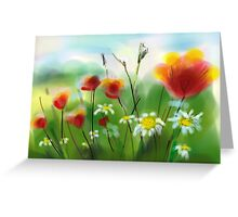 Poppies and Daisies Painting Greeting Card