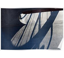 Shadows on a gray bench Poster
