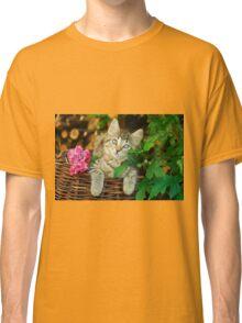 Cutie young kitten on a wicker basket  Classic T-Shirt