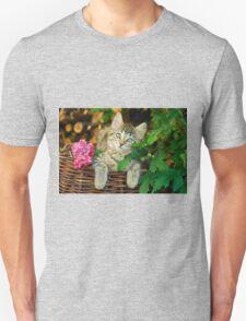 Cutie young kitten on a wicker basket  Unisex T-Shirt