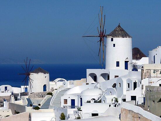 Windmills of Oia, Santorini, Greece by Lucinda Walter