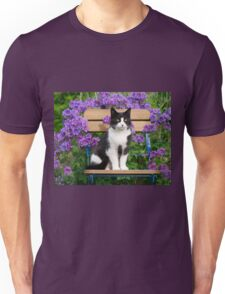 Tuxedo cat sitting on a garden chair Unisex T-Shirt