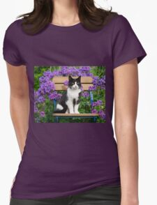 Tuxedo cat sitting on a garden chair Womens Fitted T-Shirt