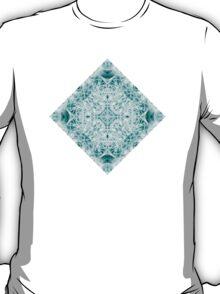 """Spirit of India: Magic Diamond"" in white and blue-turquoise T-Shirt"